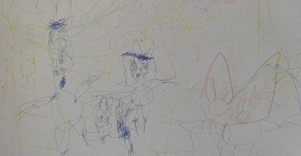 Pictură abstractă cu trei pisicuţe, by Iris & Dalia